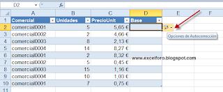 Autocorrección en las Tablas de Excel.