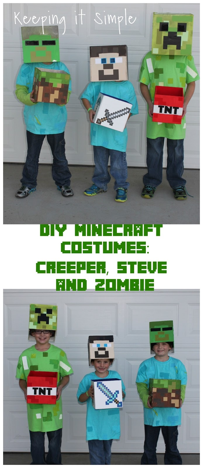 Diy minecraft costumes creeper steve and zombie costume keeping i ended up making them a mask a hat and a treat box since they always seem to want a prop i figured they might as well have a functional prop solutioingenieria Image collections