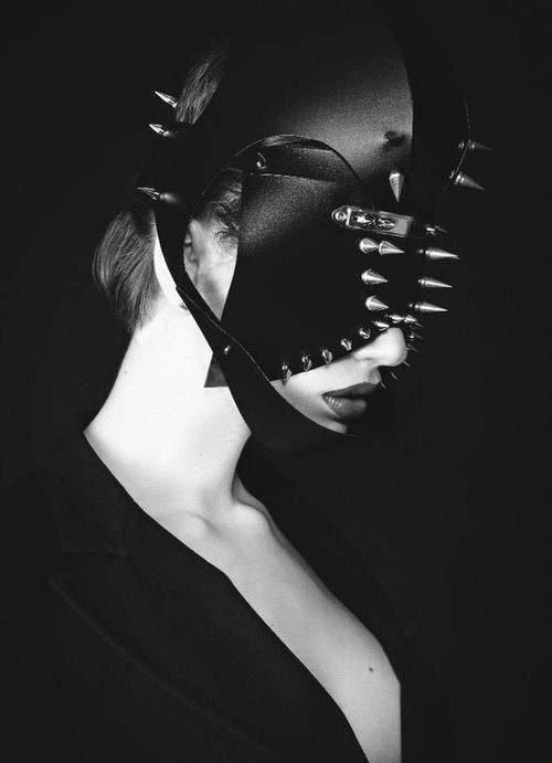 Fetish Accessories : Spiked Black Leather Mask