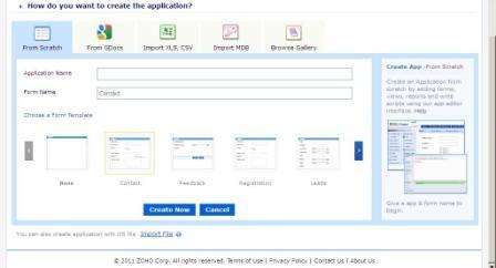create application zoho