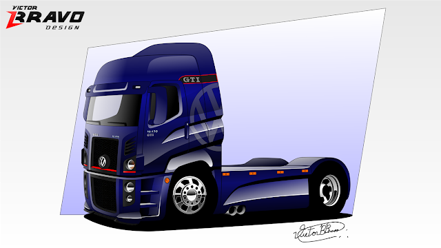 Imagem do Volkswagen Constellation GTI utilizando desenhos em vetores.