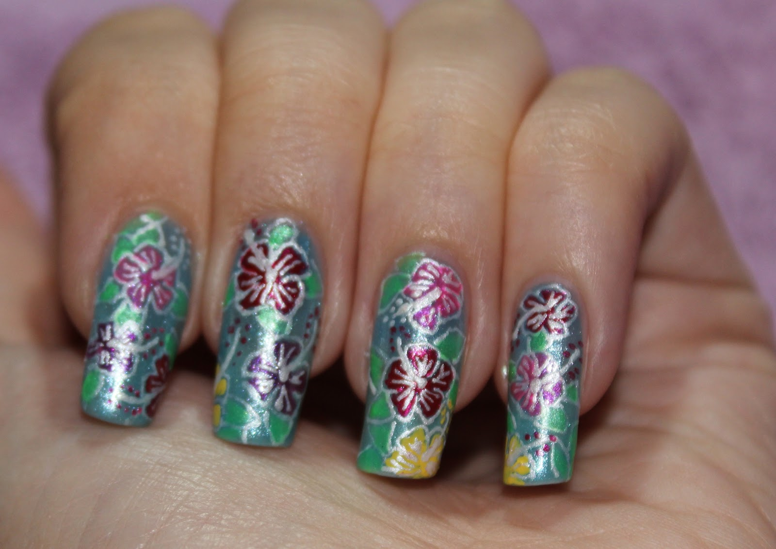 Nail Design Tutorials 2012 Nail Design Hibiscus Flowers Nail Art