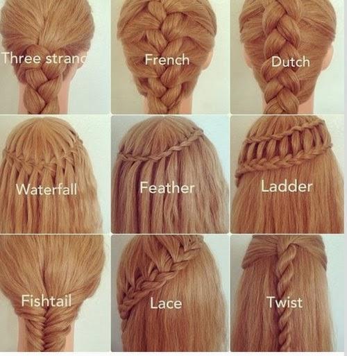 aqu te dejo un cuadro para que aprendas los diferentes tipos de peinados con trenza que existen y te decidas por el que ms te guste - Peinados Chulos