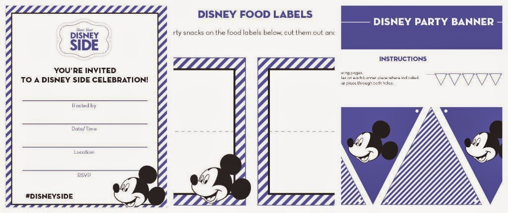 free Disney Side printables: invite, food tent label, banner