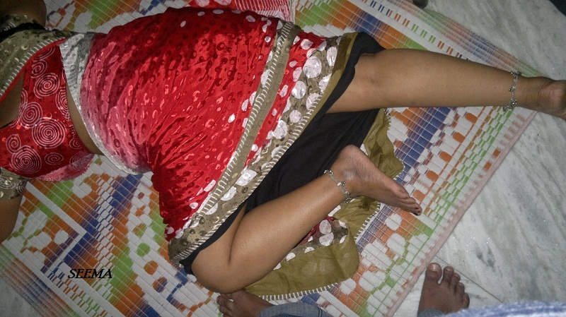 sleeping Indian aunty image Saree
