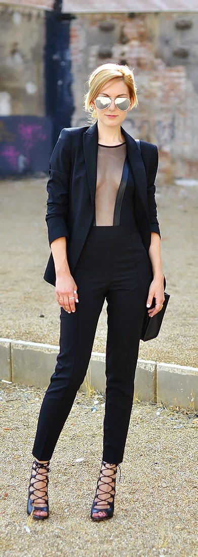 Classic Black Blazer with High Waist Pant and Lace Heels | Spring Chic Outfits