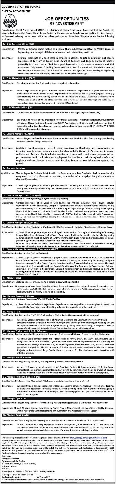 Jobs in Quaid-e-Azam Hydel Power Limited Pakistan