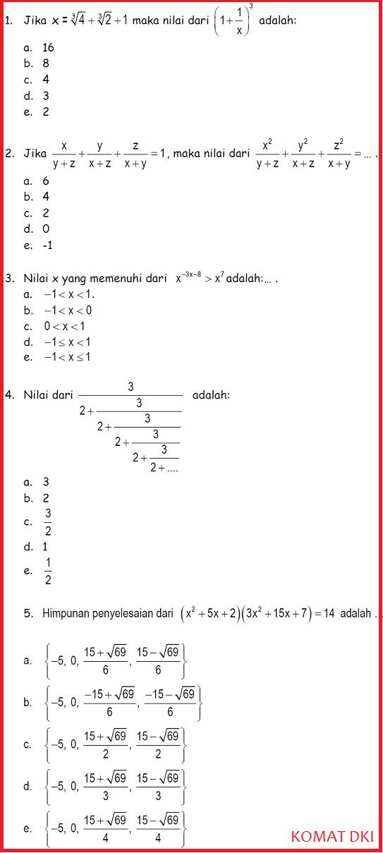 Sumber Info Gratis Soal Kompetisi Matematika Komat Dki