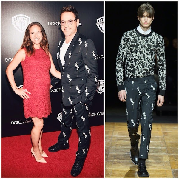 Susan Downey and Robert Downey Jr in Dior Homme Fall Winter 2014 floral embroidered pinstriped suit at 2014 Toronto International Film Festival