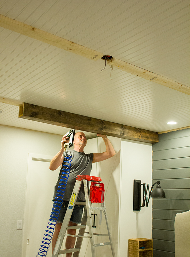 Master makeover diy wood beams amazing kitchen for Wood box beam