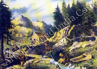 The Great American Gold Rush, In February, shortly after Mexico ceded California to the United States, traces of gold were found at Slitter's Mill on the American river. By November, men were rushing from all over the world to seek their fortunes. Indians hunted gold in return for beads.