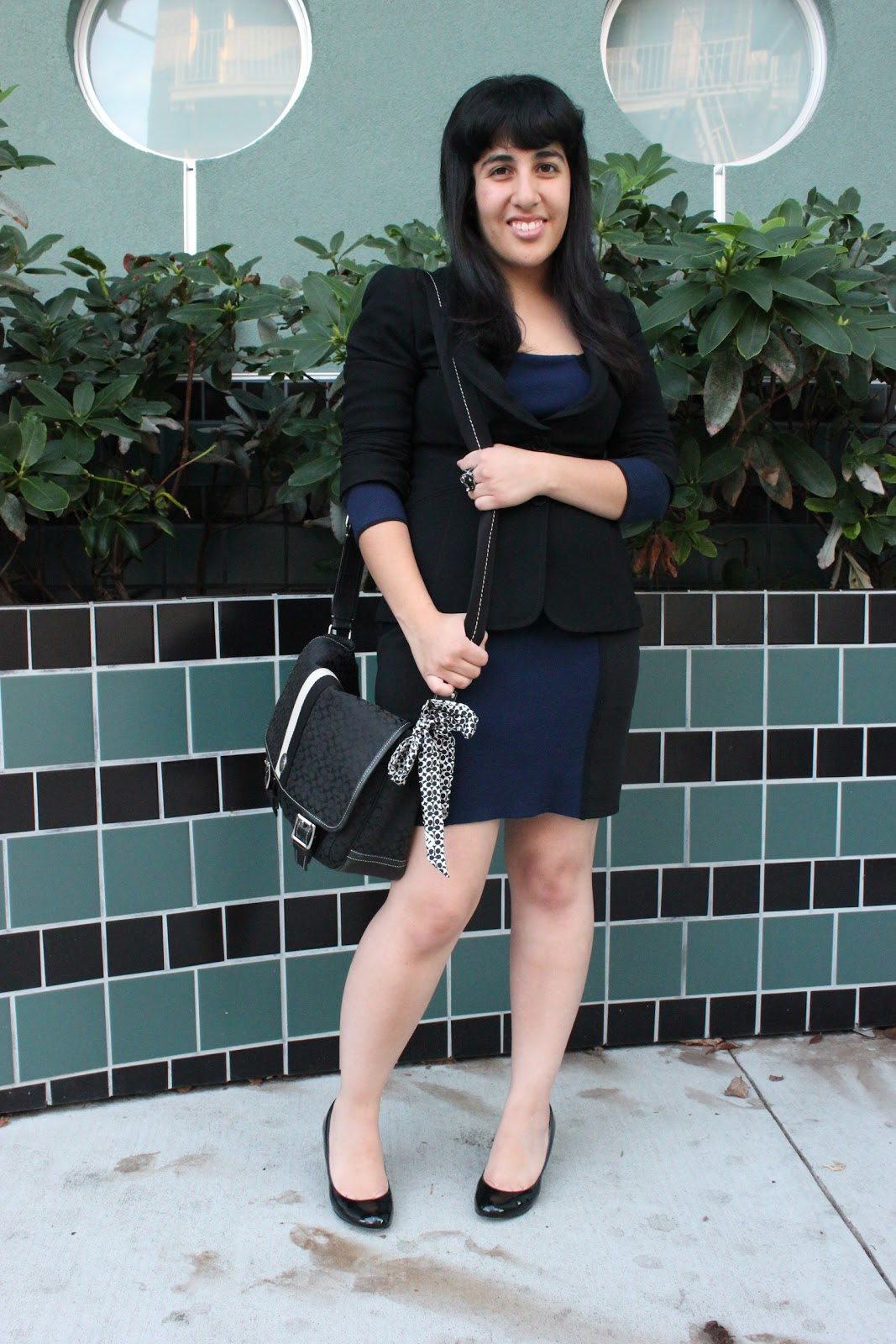 Black Blazer and Navy Dress