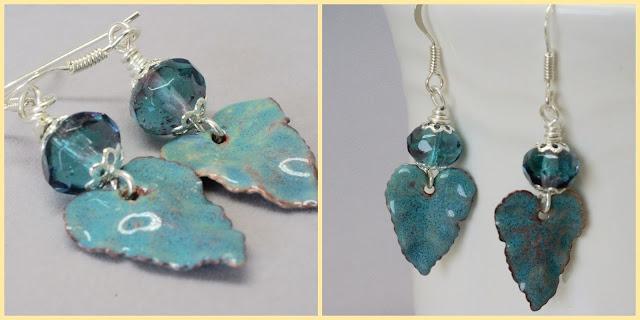 teal leaf earrings