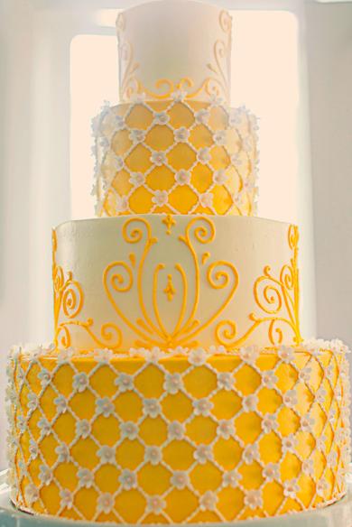 Textured Yellow Wedding Cakes