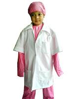kostum profesi bedah pink untuk anak