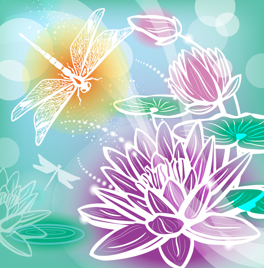 花とトンボのシルエットの背景 gorgeous silhouette pattern background イラスト素材