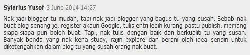 Blogku Bukan Yang Terbaik Tetapi Tetap Terbaik