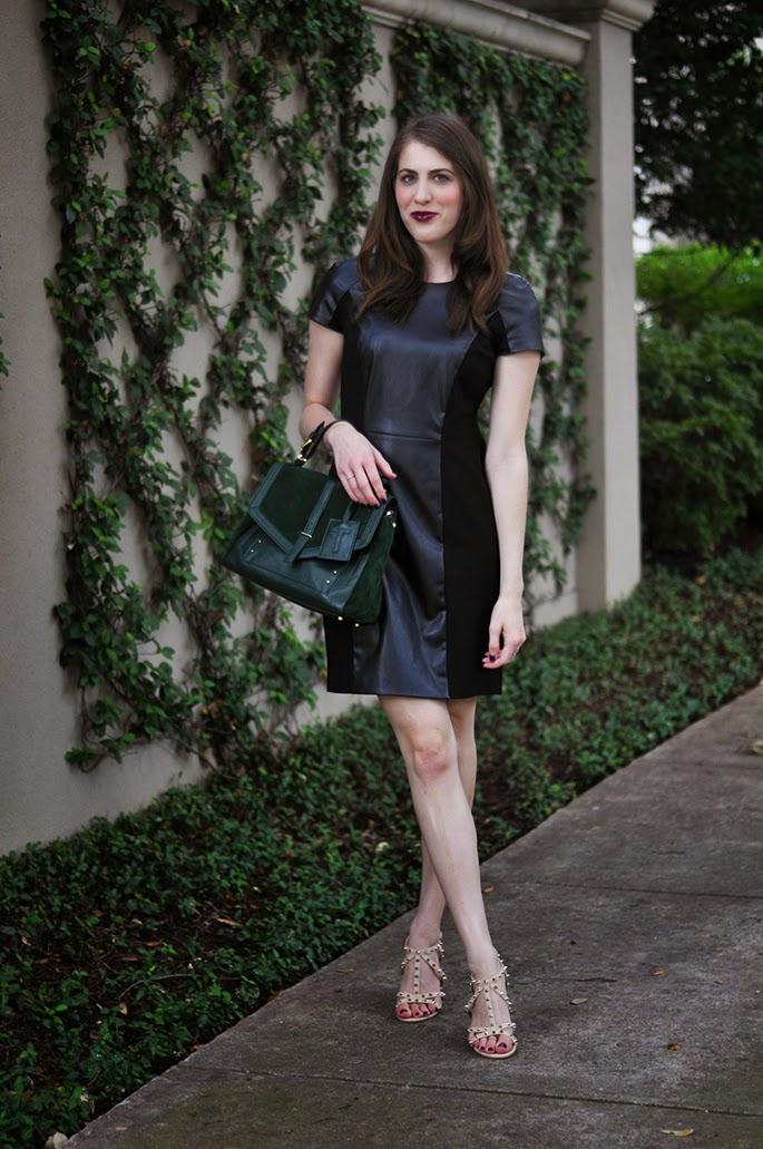 Gianni Bini Vandra Faux-Leather & Ponte Dress