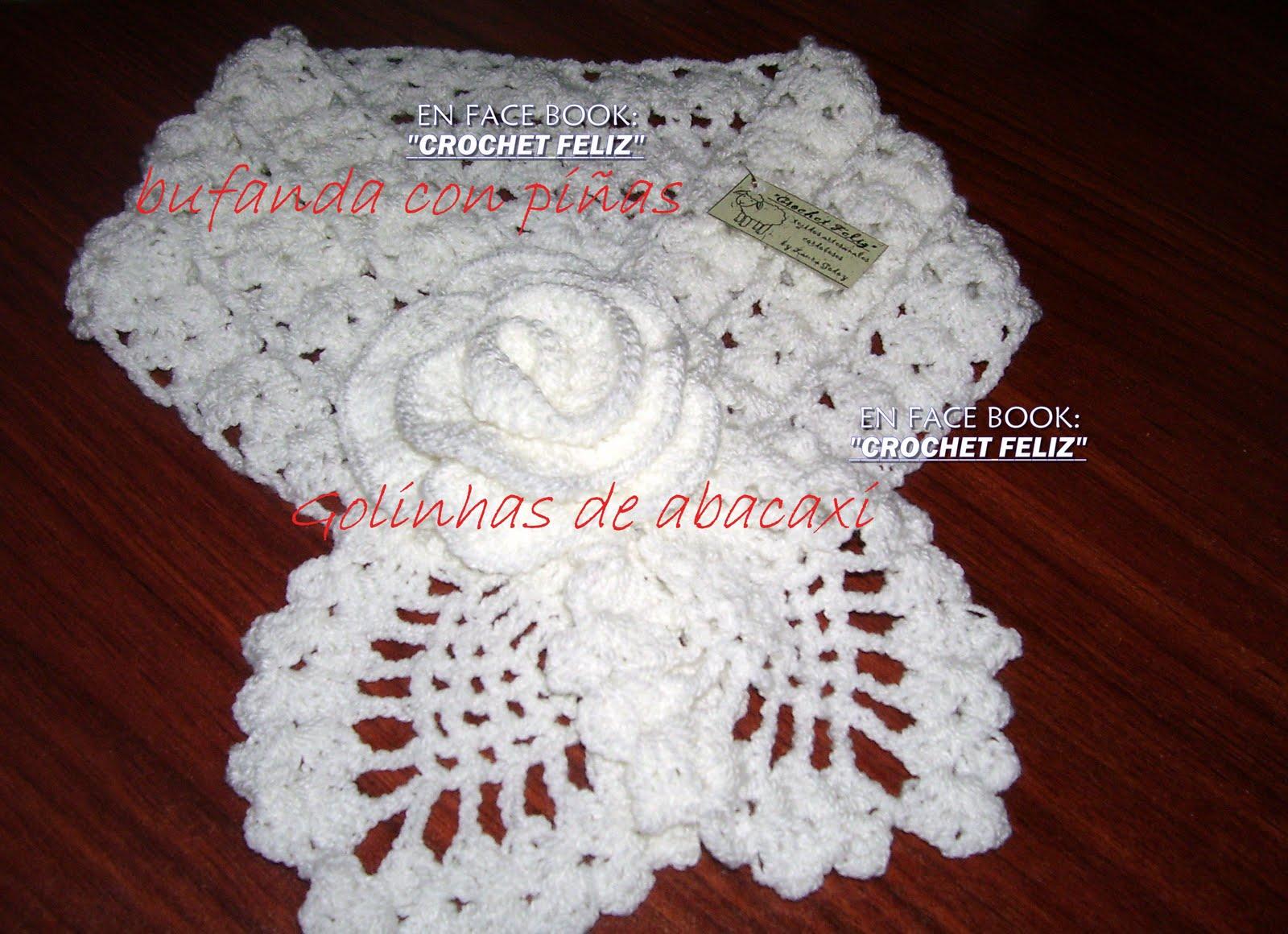 crochet , pintura: Bufanda con piñas