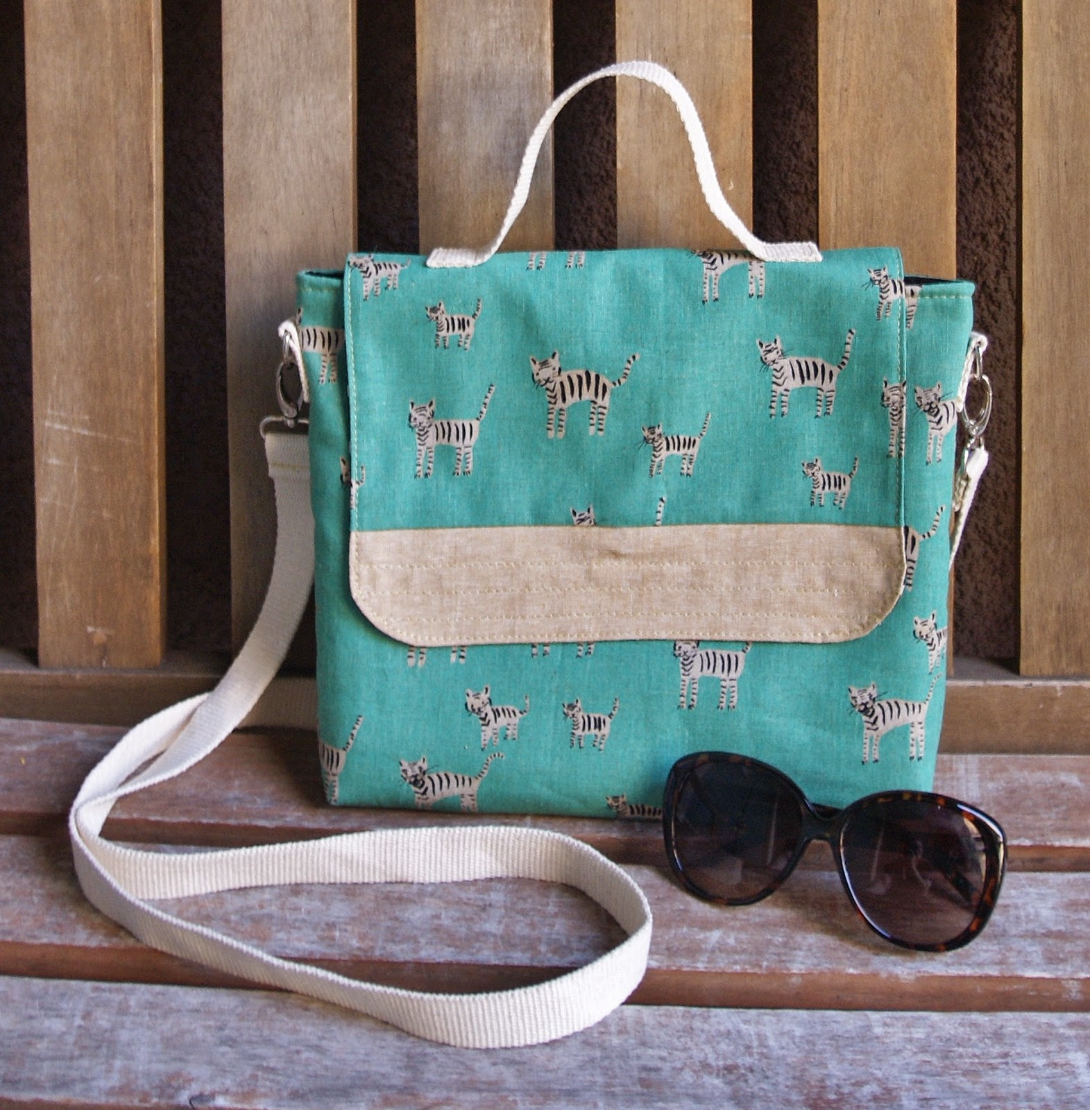 Cotton + Steel Tiger Tracks Satchel by Heidi Staples of Fabric Mutt