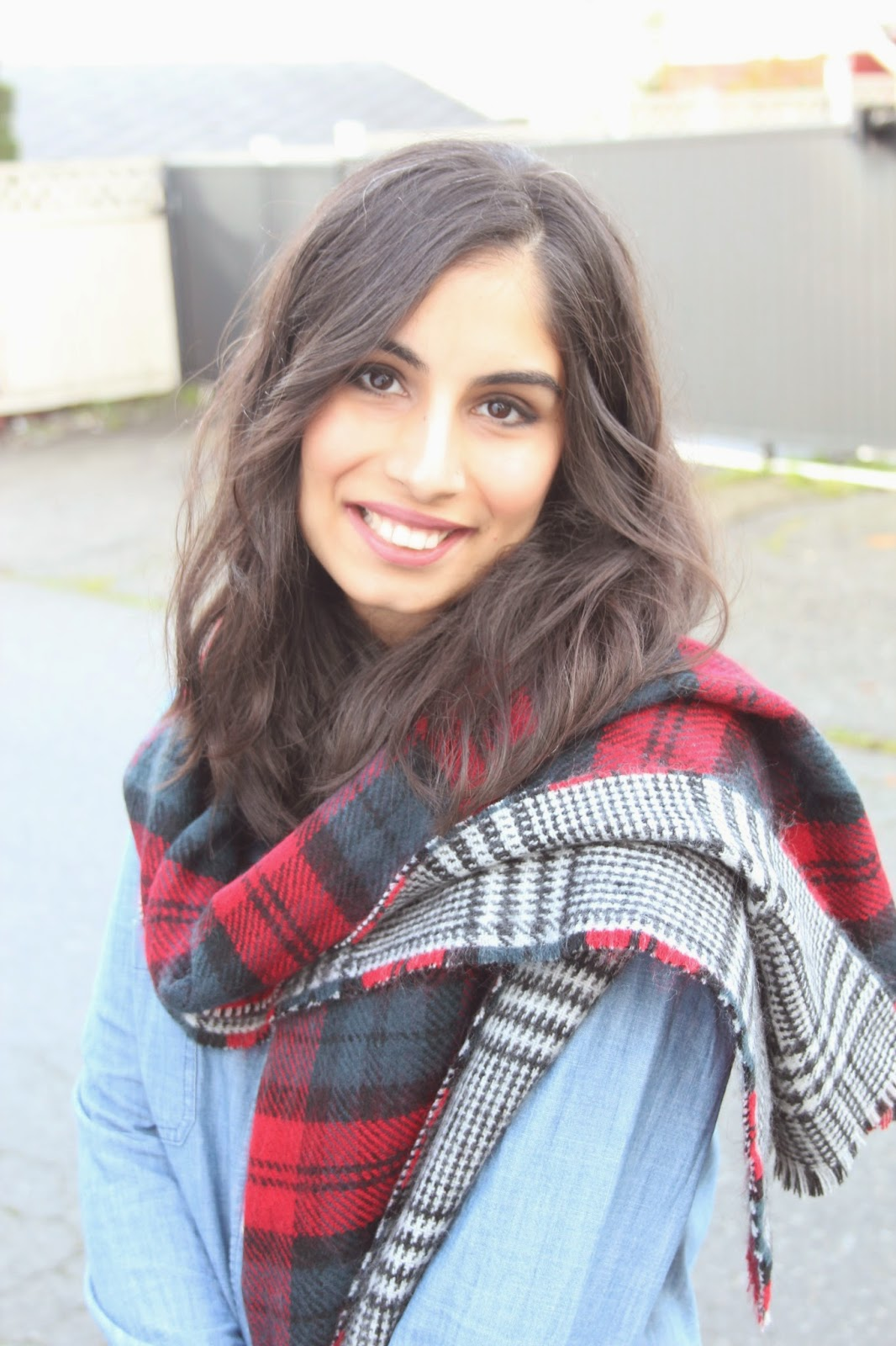 reversible plaid scarf and canadian tuxedo | Footnotes and Finds