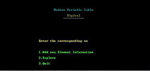 Modern periodic table project code fervor output screen of modern periodic table project in c urtaz Image collections