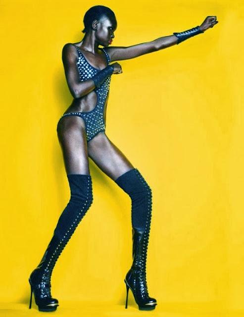 Fetish Inspirations : Alek Wek poses in fetish wear for Stylist Magazine 2011