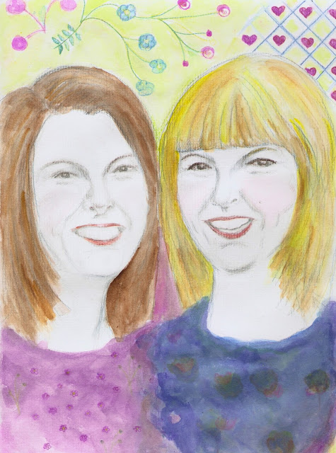 A painting of Clare and Kate
