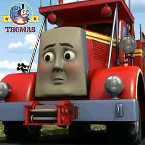 Thomas the tank engine Flynn the fire rescue truck the Island of Sodor citizen trembling on road way