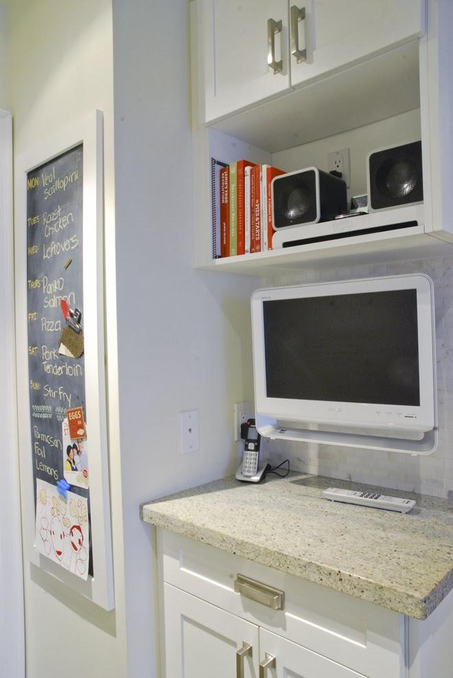 Rambling Renovators | white kitchen shaker cabinet ribbed glass media station tv