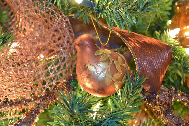 copper bird Christmas ornament