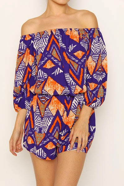African Print Off Shoulder Romper