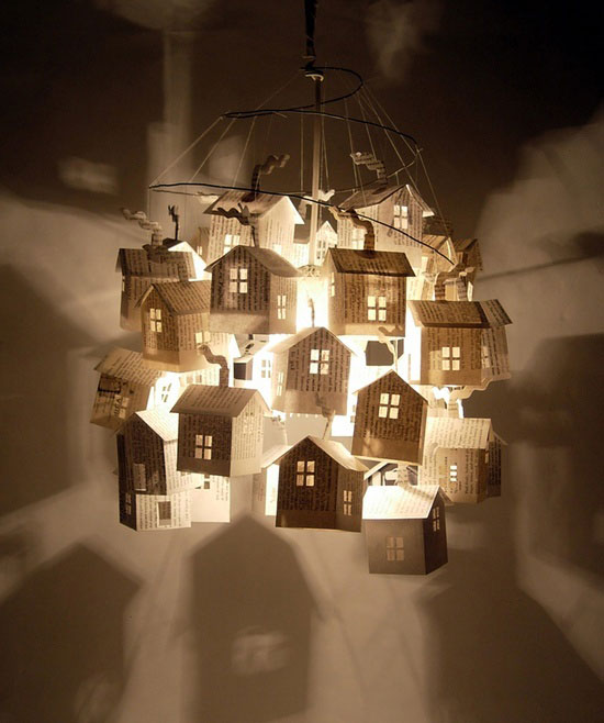 strands of paper houses create a collectors light