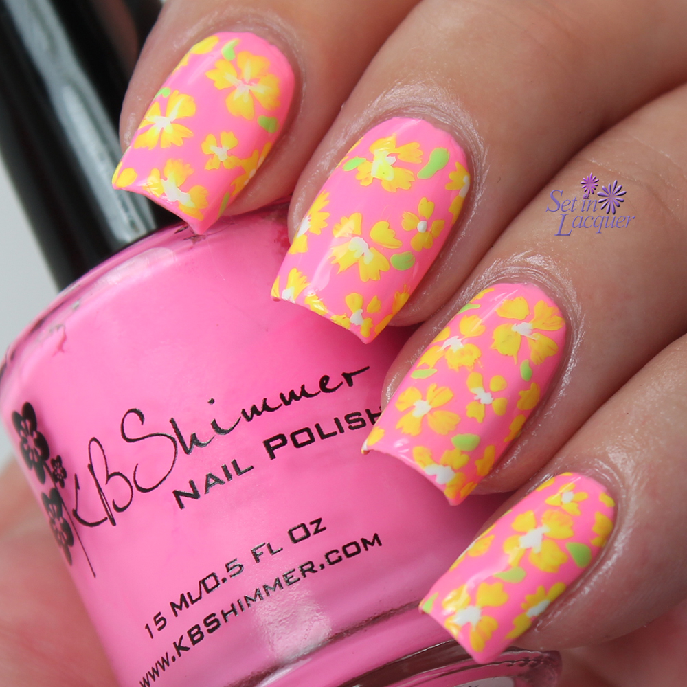 Neon floral nail art using KBShimmer bleached neon creme polishes