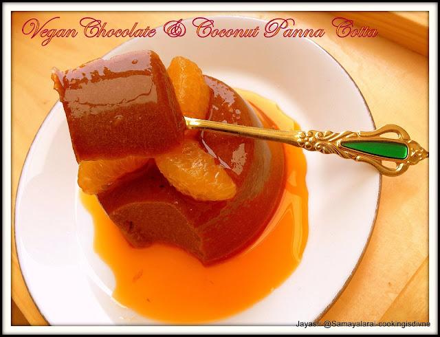 Vegan Chocolate & Coconut Panna Cotta with Orange Sauce