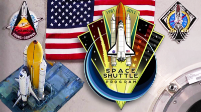 Atlantis – STS135 – Space Shuttle Programme Logo and an image of the Shuttle on its transporter. In the background, patches of the first Mission STS-1 and the last Mission STS-135 next to the American flag that was present in both, now secured on the entry hatch of the International Space Station. NASA-TV 2011.