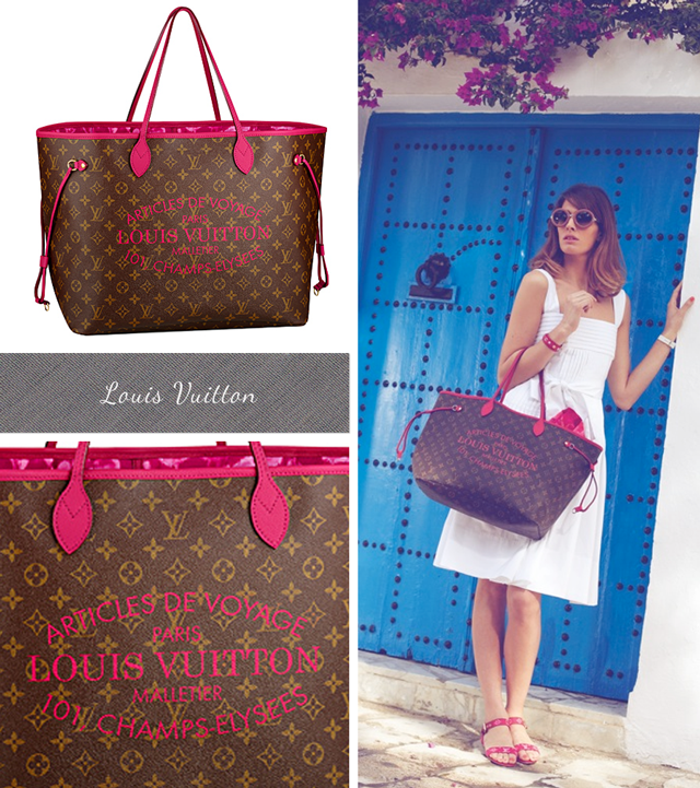 Louis Vuitton Neverfull with bright pink leather straps, pink logo and floral lining, Summer 2013 Bags