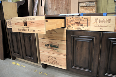Custom kitchen wine racks with a wine crate shelving base. This decorative  accent was created by an artist/interior decorator. The racks, center  shelves and ...