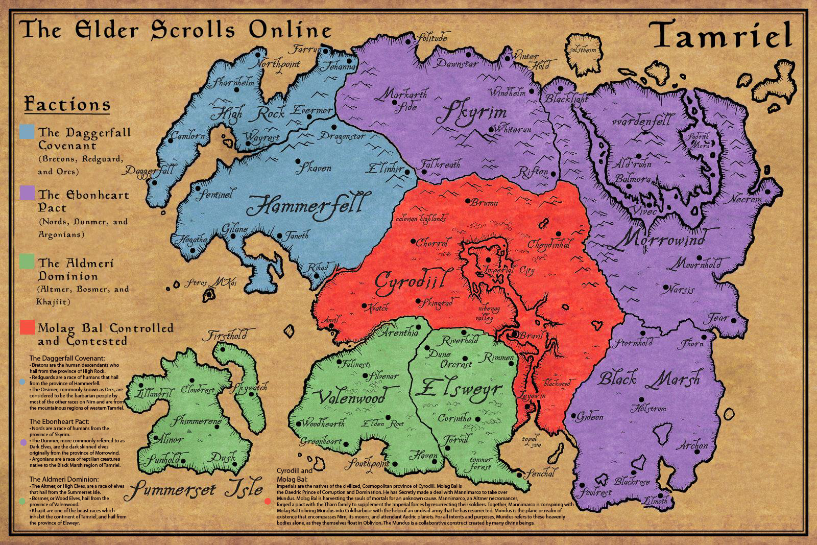 Superior A Map Of Tamriel, The Setting For ESO.