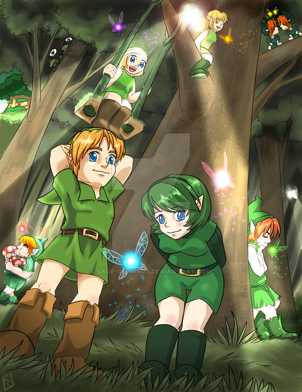 If it was up to me I would call this picture Party in the Lost Woods. The original work is from: http://www.deviantart.com/art/Kokiri-of-Lost-Woods-70675122