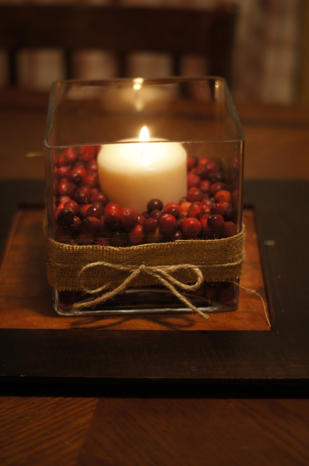 Cranberry centerpiece perfect for thanksgiving or christmas
