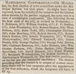Newspaper Cutting headed the Hartlepool Corporation and listing the councillors elected under the Municipal Reform Act.