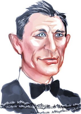 Daniel Craig caricature cartoon. Portrait drawing by caricaturist Artmagenta