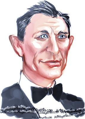Daniel Craig caricature cartoon. Portrait drawing by caricaturist Artmagenta