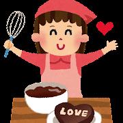 チョコレートを手作りしている女の子のイラスト