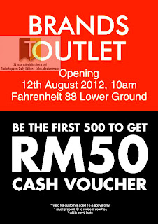 Brands Outlet Opening FREE RM50 Voucher