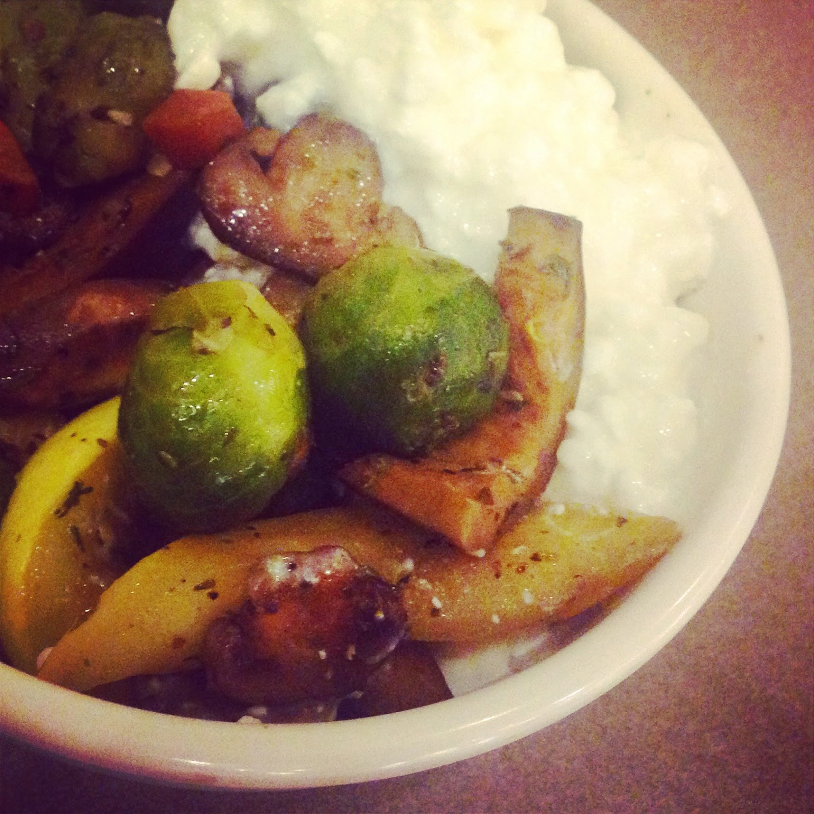 Roasted and Seasoned Vegetables with Cottage Cheese