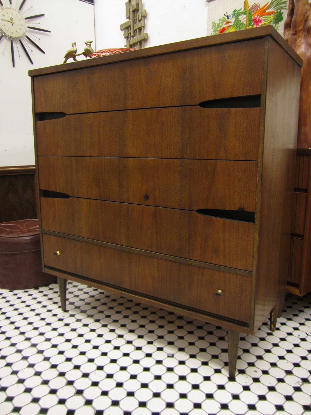 SOLD Vintage Mid Century High Boy Dresser By Bassett Furniture $240