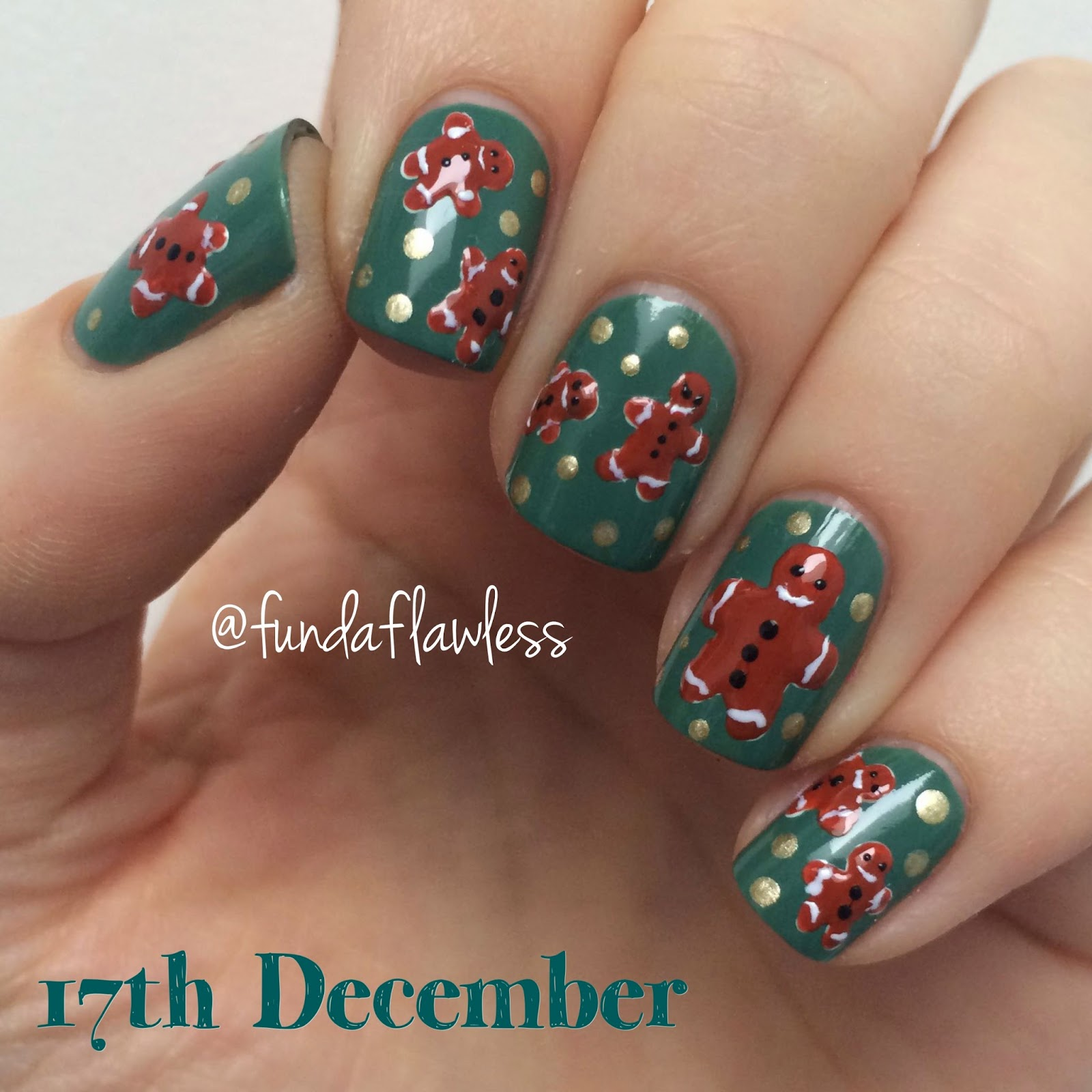 Gingerbread Nail Art