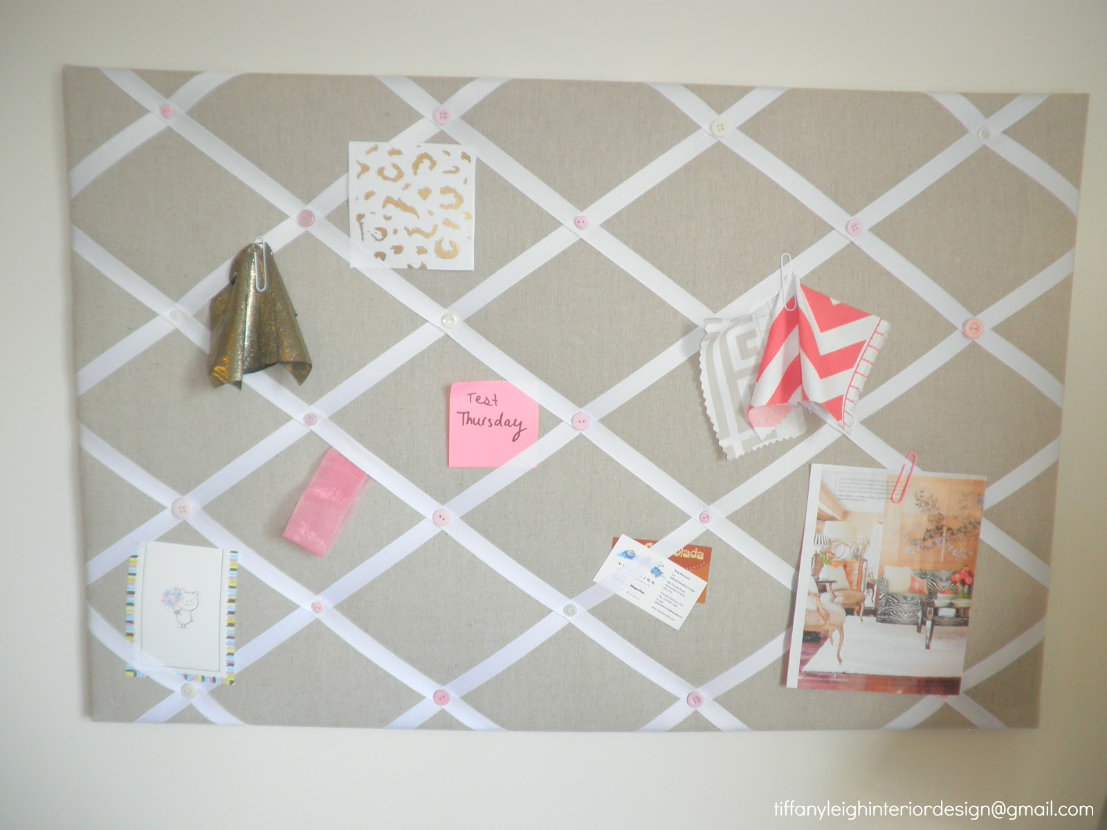 Ze interior designs diy ribbon and linen pinboard for Linen cork board